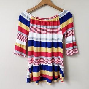 Como Vintage Striped Ruffle Hem & Sleeve Top